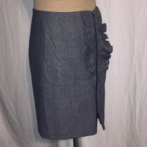 Banana Republic Gray Wool Pencil Skirt with Ruffle